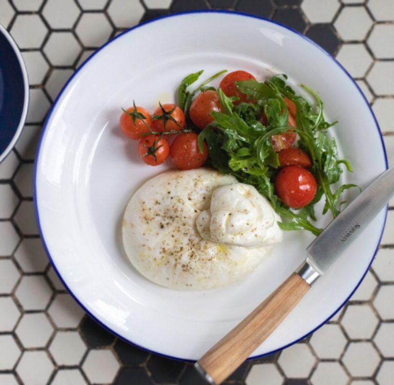 Buffalo mozzarella with cherry tomato and basil