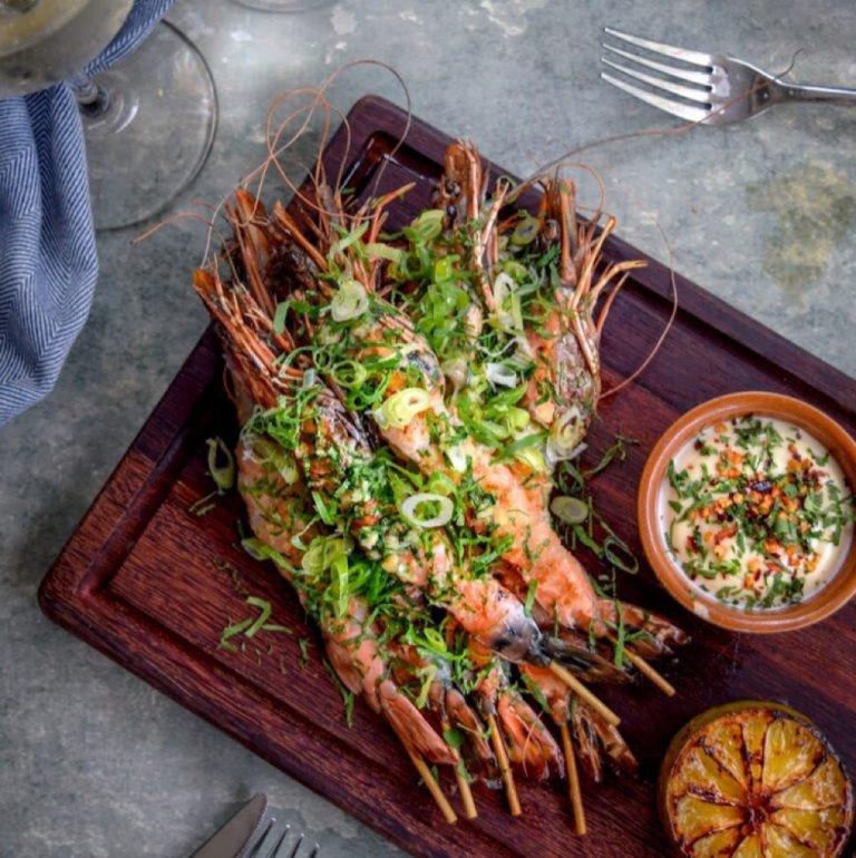 Salt griddled tiger prawn