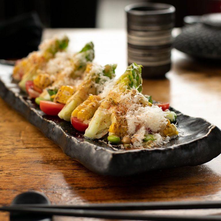 Grilled Gem Lettuce Salad with Miso Dressing